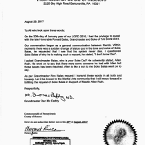 Dan McEaddy International Circle of Masters President letter