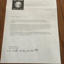 Mike Bissonnette New World Martial Arts letter