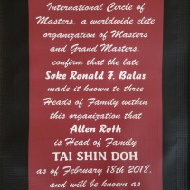 International Circle of Masters recognize Allen Roth as Soke Tai Shin Doh